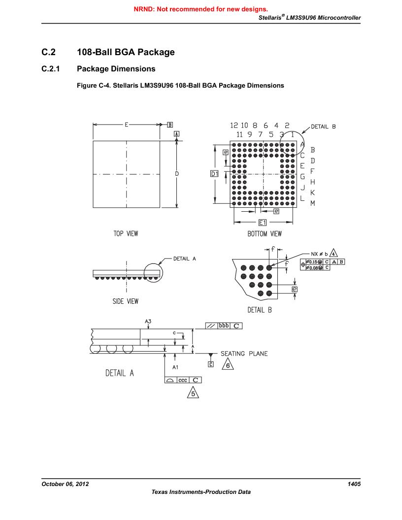 LM3S9U96-IBZ80-A1T ,Texas Instruments厂商,IC ARM CORTEX MCU 384KB 108NFBGA, LM3S9U96-IBZ80-A1T datasheet预览  第1405页