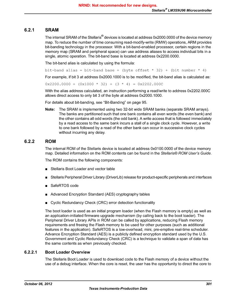 LM3S9U96-IBZ80-A1T ,Texas Instruments厂商,IC ARM CORTEX MCU 384KB 108NFBGA, LM3S9U96-IBZ80-A1T datasheet预览  第301页