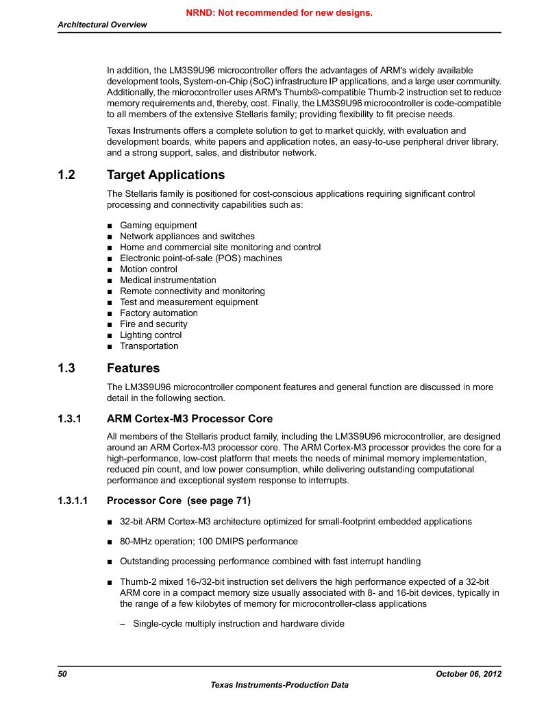LM3S9U96-IBZ80-A1T ,Texas Instruments厂商,IC ARM CORTEX MCU 384KB 108NFBGA, LM3S9U96-IBZ80-A1T datasheet预览  第50页