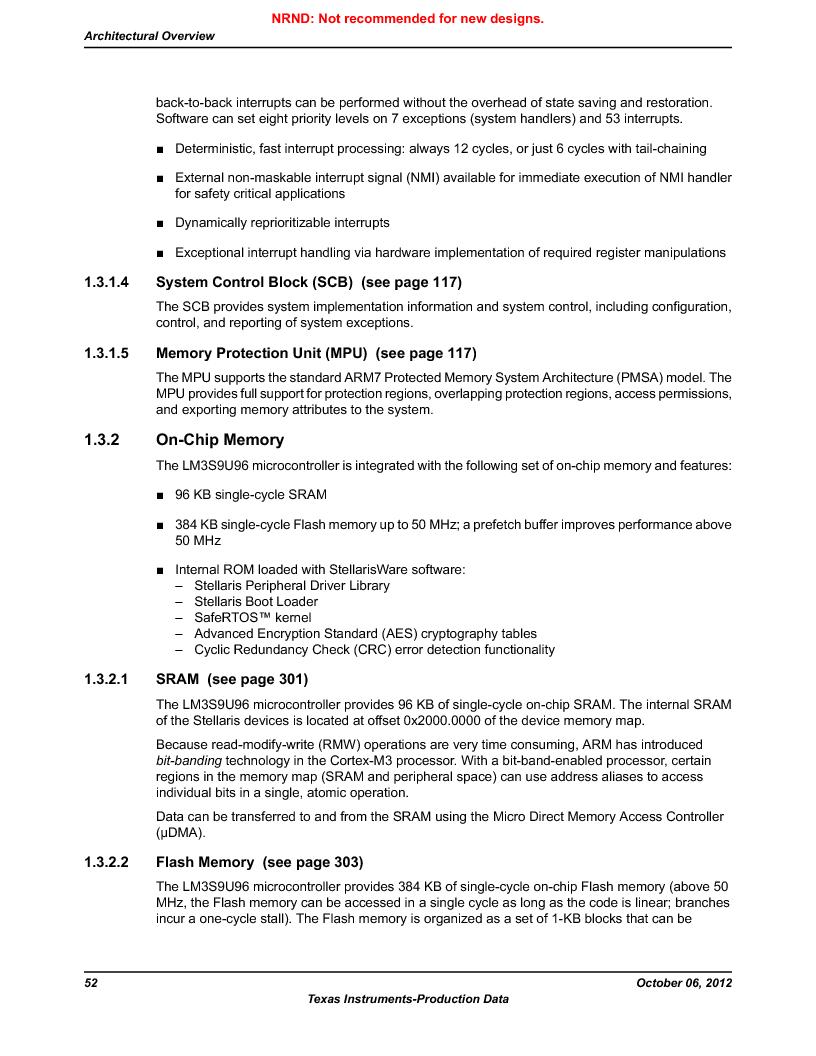 LM3S9U96-IBZ80-A1T ,Texas Instruments厂商,IC ARM CORTEX MCU 384KB 108NFBGA, LM3S9U96-IBZ80-A1T datasheet预览  第52页