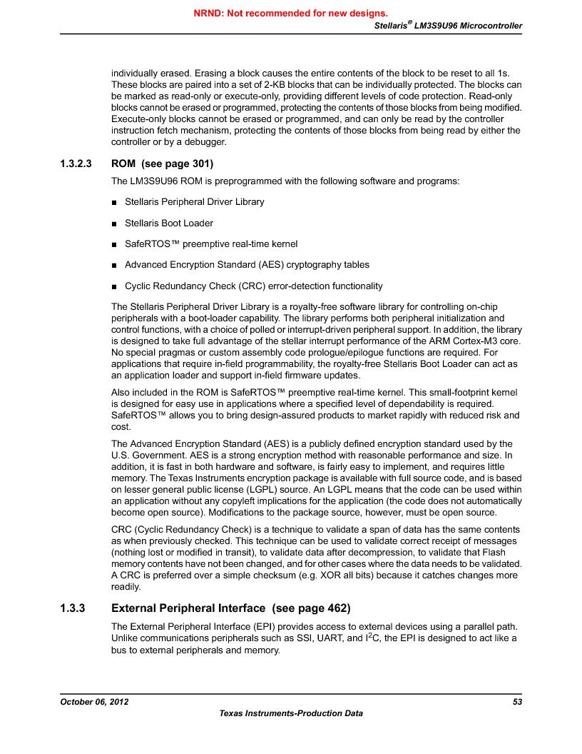 LM3S9U96-IBZ80-A1T ,Texas Instruments厂商,IC ARM CORTEX MCU 384KB 108NFBGA, LM3S9U96-IBZ80-A1T datasheet预览  第53页