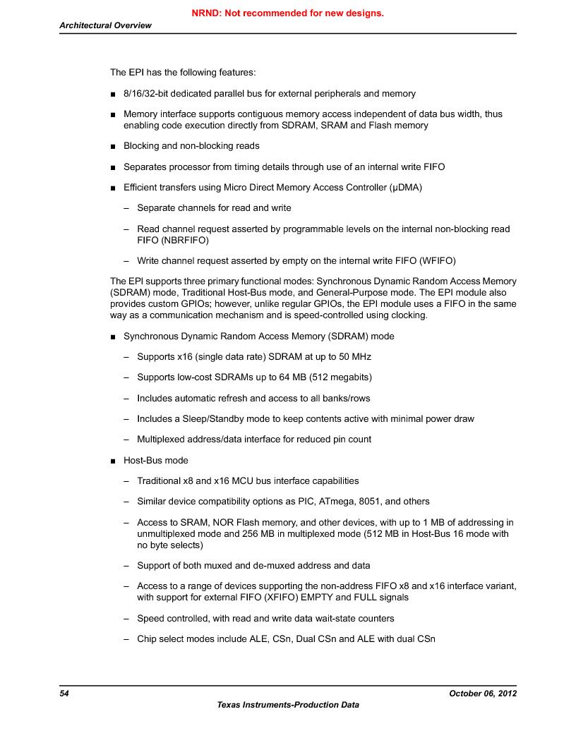 LM3S9U96-IBZ80-A1T ,Texas Instruments厂商,IC ARM CORTEX MCU 384KB 108NFBGA, LM3S9U96-IBZ80-A1T datasheet预览  第54页