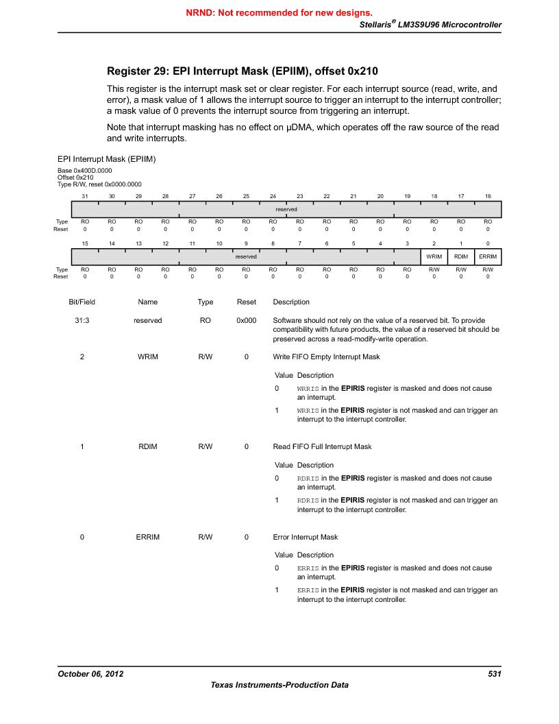 LM3S9U96-IBZ80-A1T ,Texas Instruments厂商,IC ARM CORTEX MCU 384KB 108NFBGA, LM3S9U96-IBZ80-A1T datasheet预览  第531页