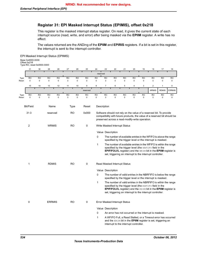 LM3S9U96-IBZ80-A1T ,Texas Instruments厂商,IC ARM CORTEX MCU 384KB 108NFBGA, LM3S9U96-IBZ80-A1T datasheet预览  第534页