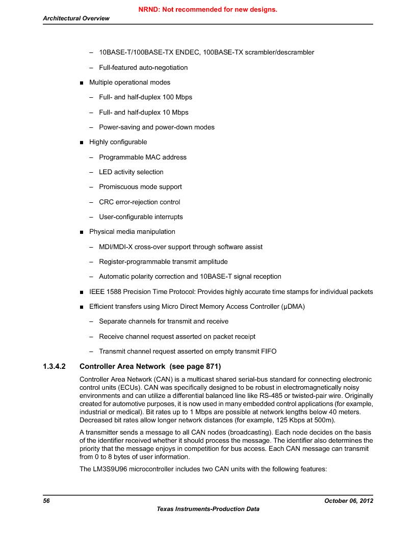 LM3S9U96-IBZ80-A1T ,Texas Instruments厂商,IC ARM CORTEX MCU 384KB 108NFBGA, LM3S9U96-IBZ80-A1T datasheet预览  第56页