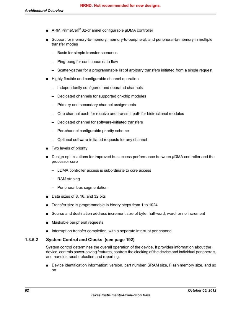 LM3S9U96-IBZ80-A1T ,Texas Instruments厂商,IC ARM CORTEX MCU 384KB 108NFBGA, LM3S9U96-IBZ80-A1T datasheet预览  第62页