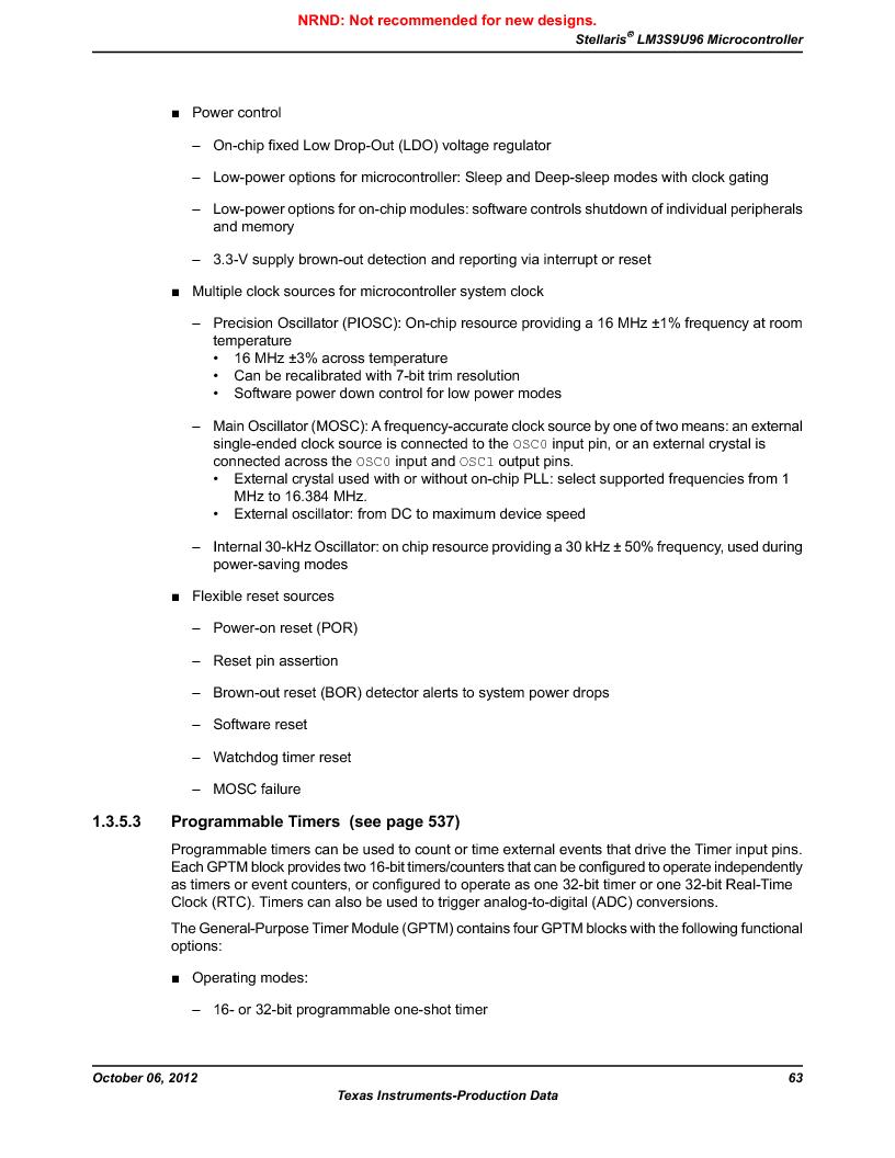 LM3S9U96-IBZ80-A1T ,Texas Instruments厂商,IC ARM CORTEX MCU 384KB 108NFBGA, LM3S9U96-IBZ80-A1T datasheet预览  第63页