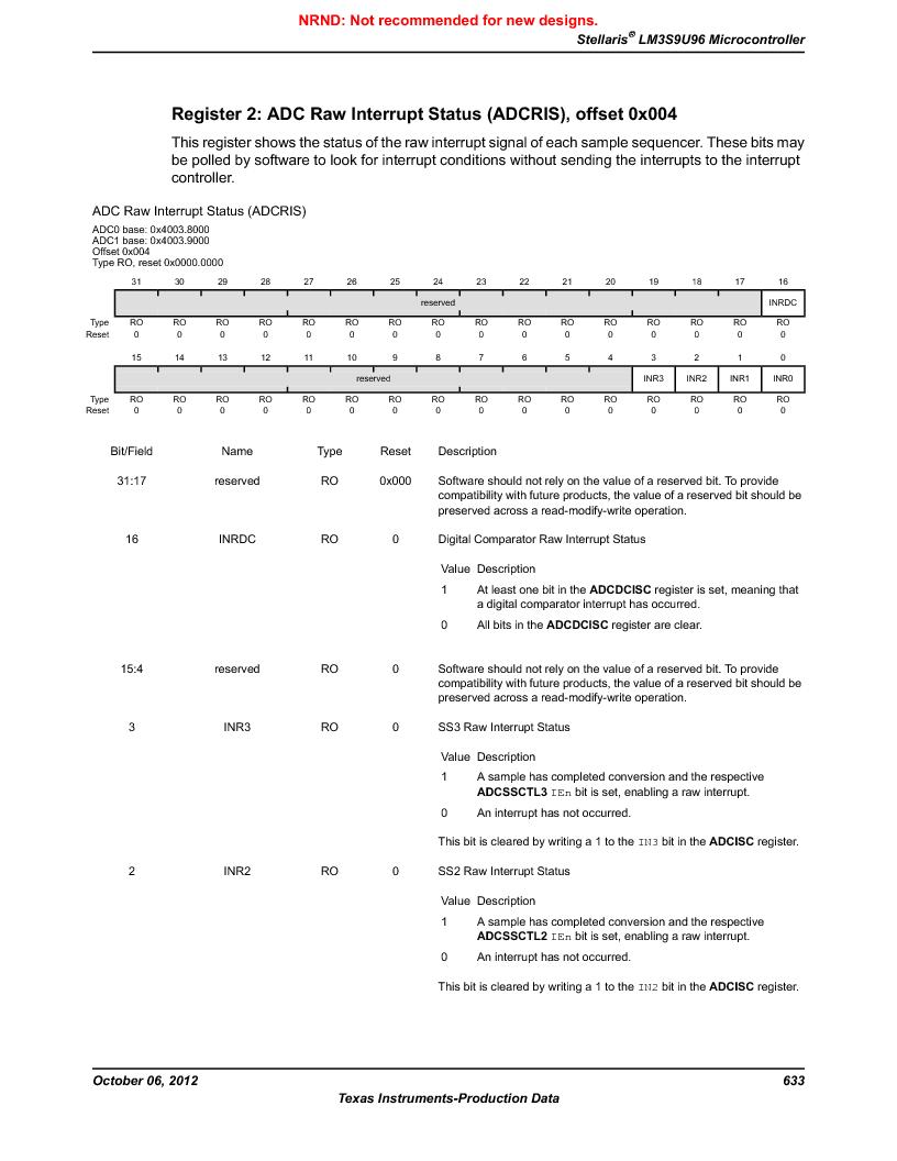 LM3S9U96-IBZ80-A1T ,Texas Instruments厂商,IC ARM CORTEX MCU 384KB 108NFBGA, LM3S9U96-IBZ80-A1T datasheet预览  第633页