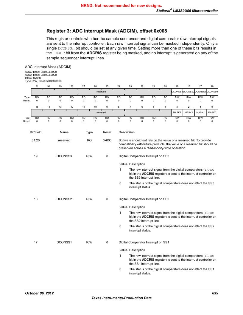 LM3S9U96-IBZ80-A1T ,Texas Instruments厂商,IC ARM CORTEX MCU 384KB 108NFBGA, LM3S9U96-IBZ80-A1T datasheet预览  第635页