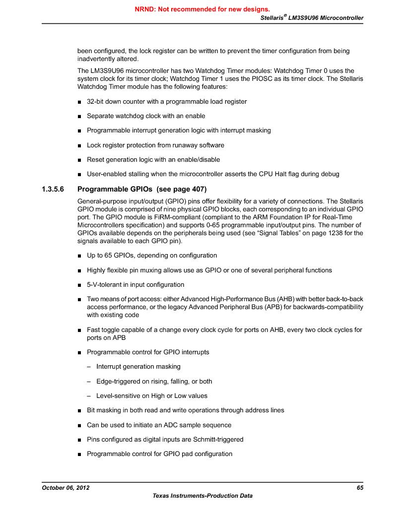 LM3S9U96-IBZ80-A1T ,Texas Instruments厂商,IC ARM CORTEX MCU 384KB 108NFBGA, LM3S9U96-IBZ80-A1T datasheet预览  第65页