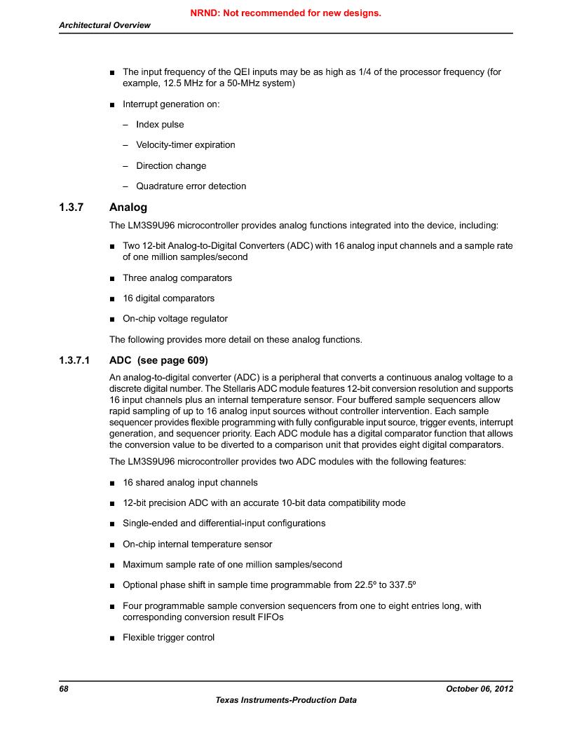LM3S9U96-IBZ80-A1T ,Texas Instruments厂商,IC ARM CORTEX MCU 384KB 108NFBGA, LM3S9U96-IBZ80-A1T datasheet预览  第68页