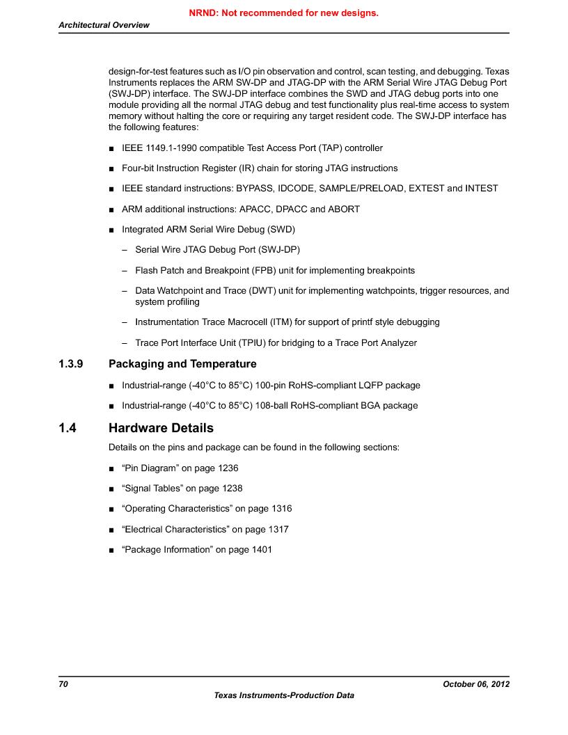 LM3S9U96-IBZ80-A1T ,Texas Instruments厂商,IC ARM CORTEX MCU 384KB 108NFBGA, LM3S9U96-IBZ80-A1T datasheet预览  第70页