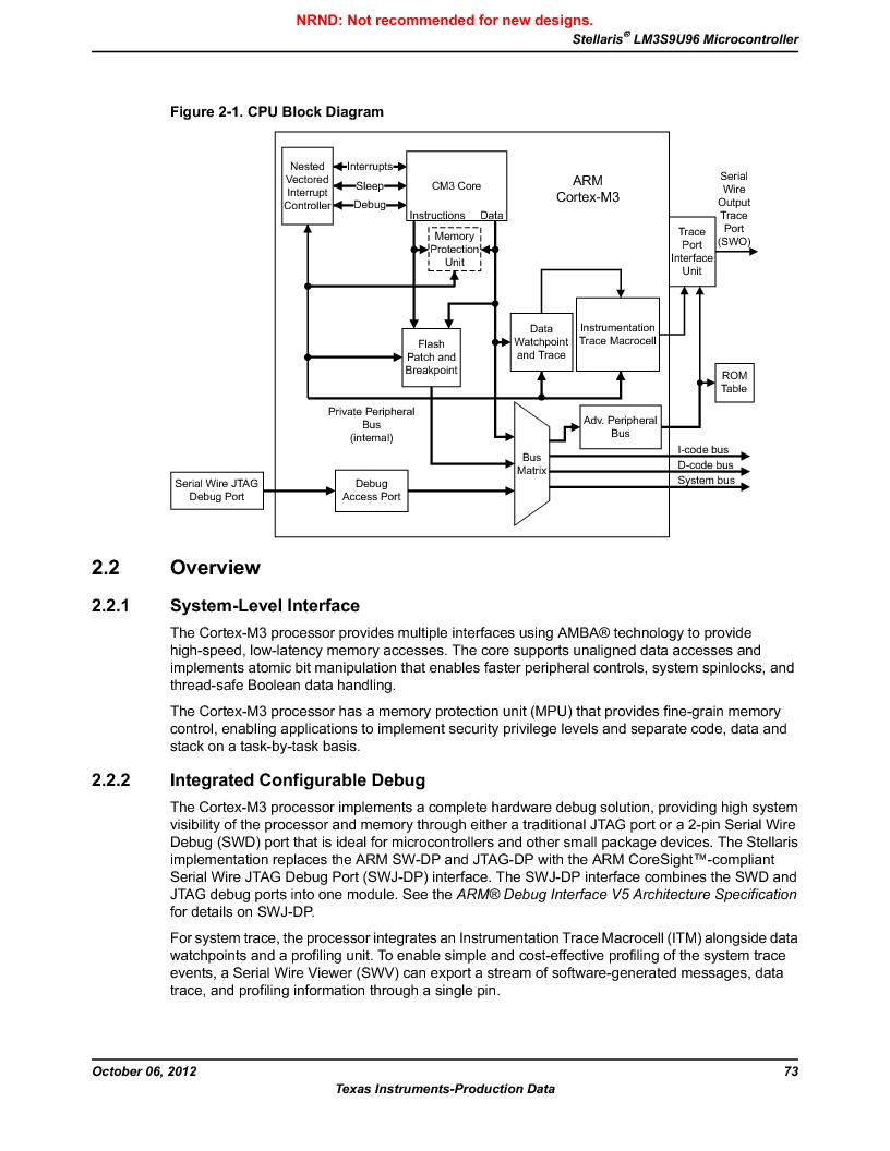 LM3S9U96-IBZ80-A1T ,Texas Instruments厂商,IC ARM CORTEX MCU 384KB 108NFBGA, LM3S9U96-IBZ80-A1T datasheet预览  第73页