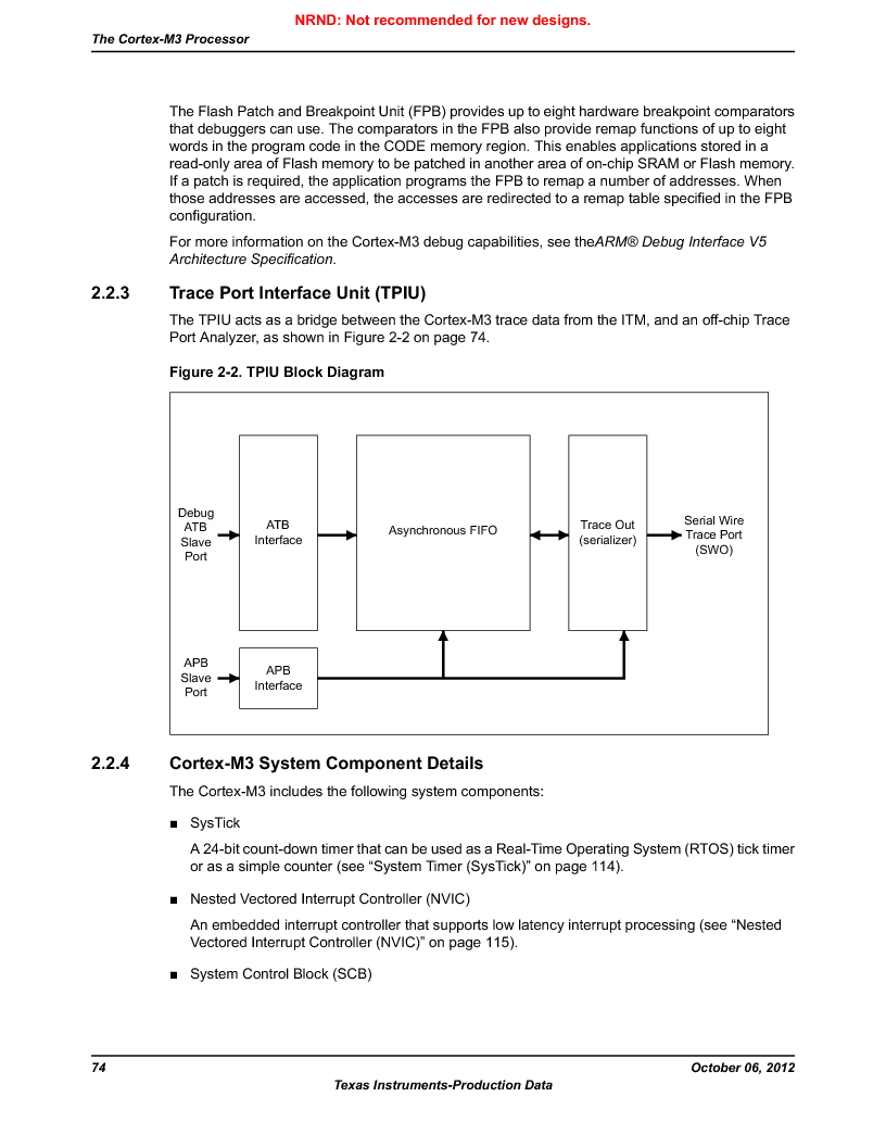 LM3S9U96-IBZ80-A1T ,Texas Instruments厂商,IC ARM CORTEX MCU 384KB 108NFBGA, LM3S9U96-IBZ80-A1T datasheet预览  第74页