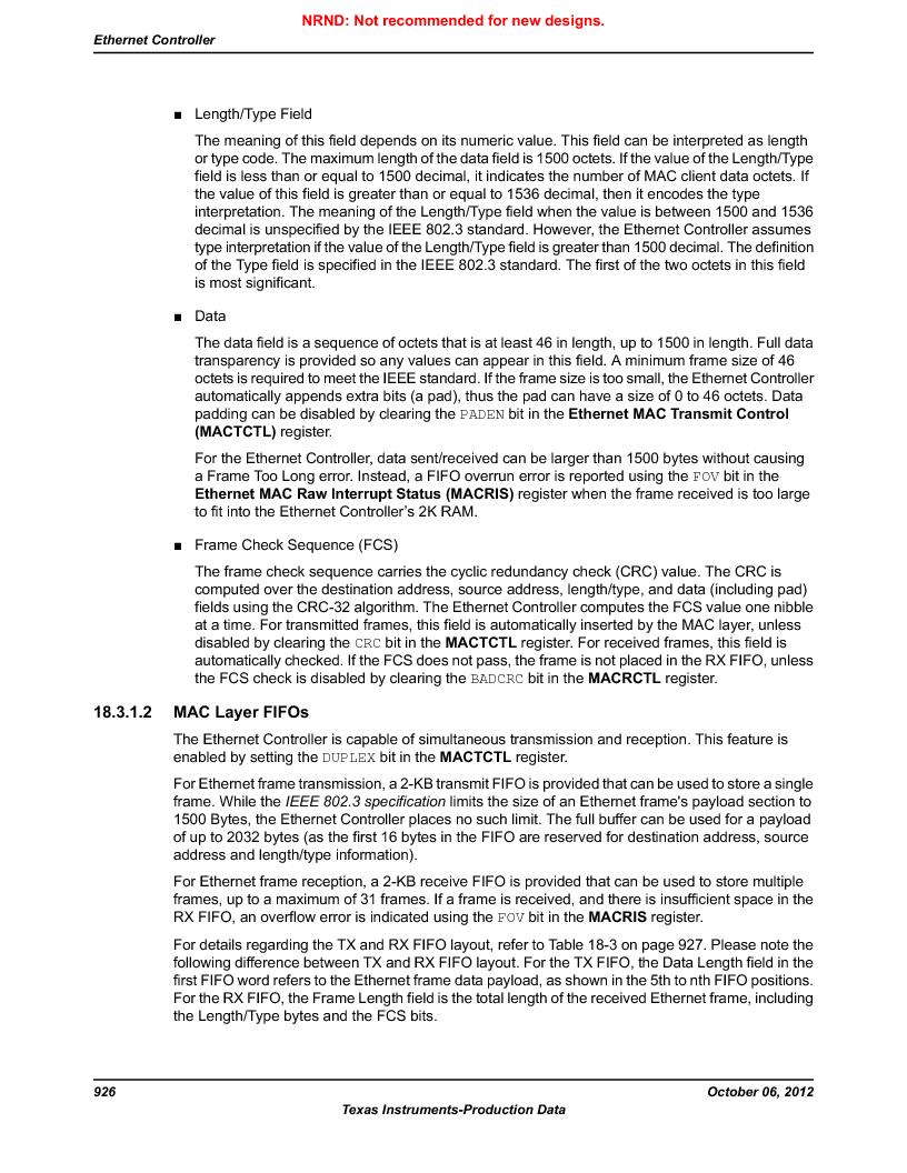 LM3S9U96-IBZ80-A1T ,Texas Instruments厂商,IC ARM CORTEX MCU 384KB 108NFBGA, LM3S9U96-IBZ80-A1T datasheet预览  第926页