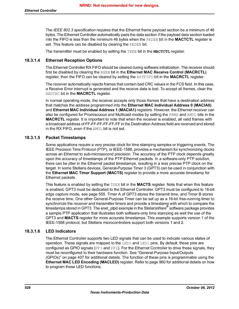 LM3S9U96-IBZ80-A1T ,Texas Instruments厂商,IC ARM CORTEX MCU 384KB 108NFBGA, LM3S9U96-IBZ80-A1T datasheet预览  第928页