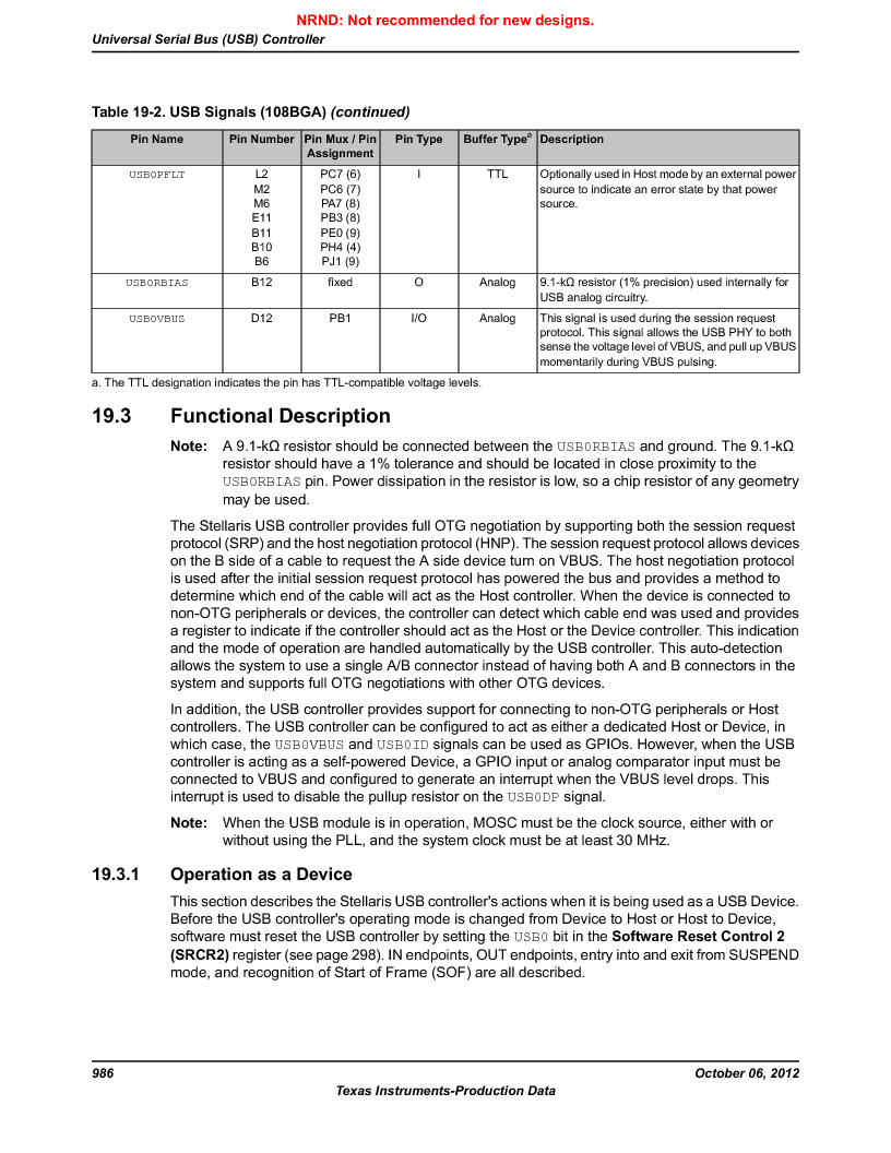 LM3S9U96-IBZ80-A1T ,Texas Instruments厂商,IC ARM CORTEX MCU 384KB 108NFBGA, LM3S9U96-IBZ80-A1T datasheet预览  第986页
