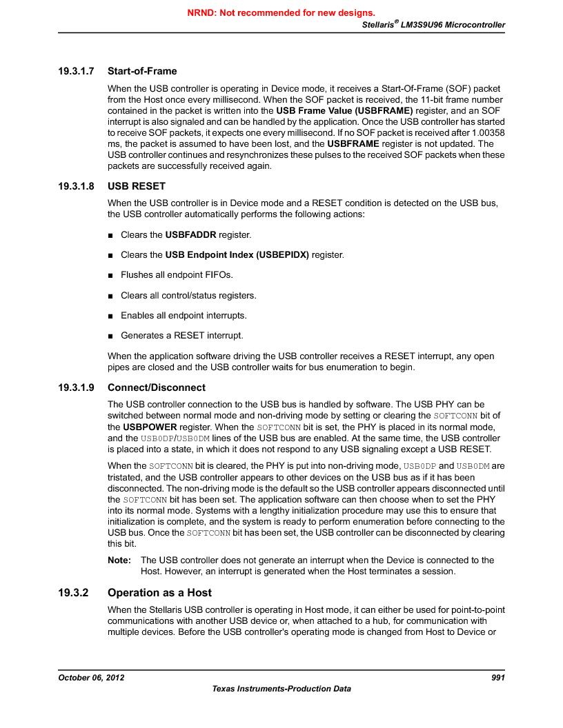LM3S9U96-IBZ80-A1T ,Texas Instruments厂商,IC ARM CORTEX MCU 384KB 108NFBGA, LM3S9U96-IBZ80-A1T datasheet预览  第991页