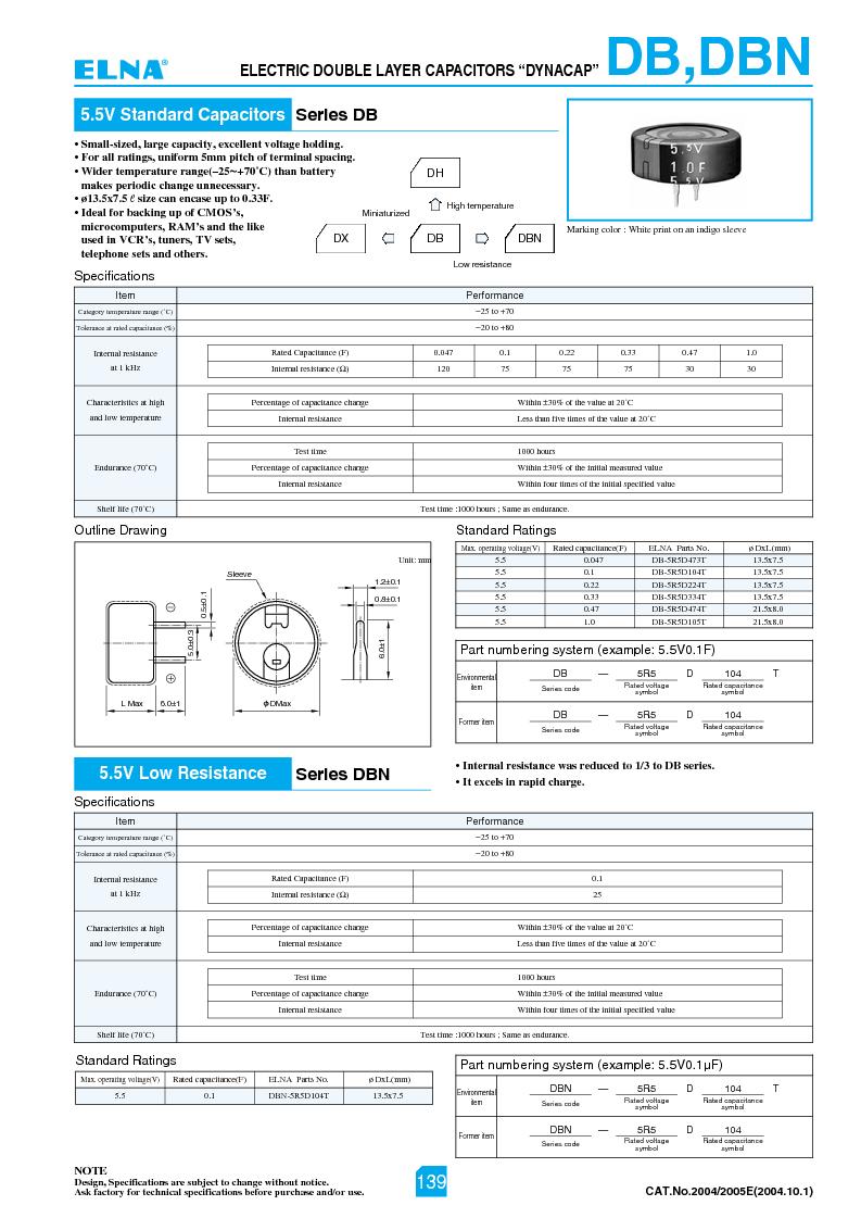 DB-5R5D474 ,Elna厂商,Supercapacitors / Ultracapacitors MEM CAP 0.47F 5.5V, DB-5R5D474 datasheet预览  第1页