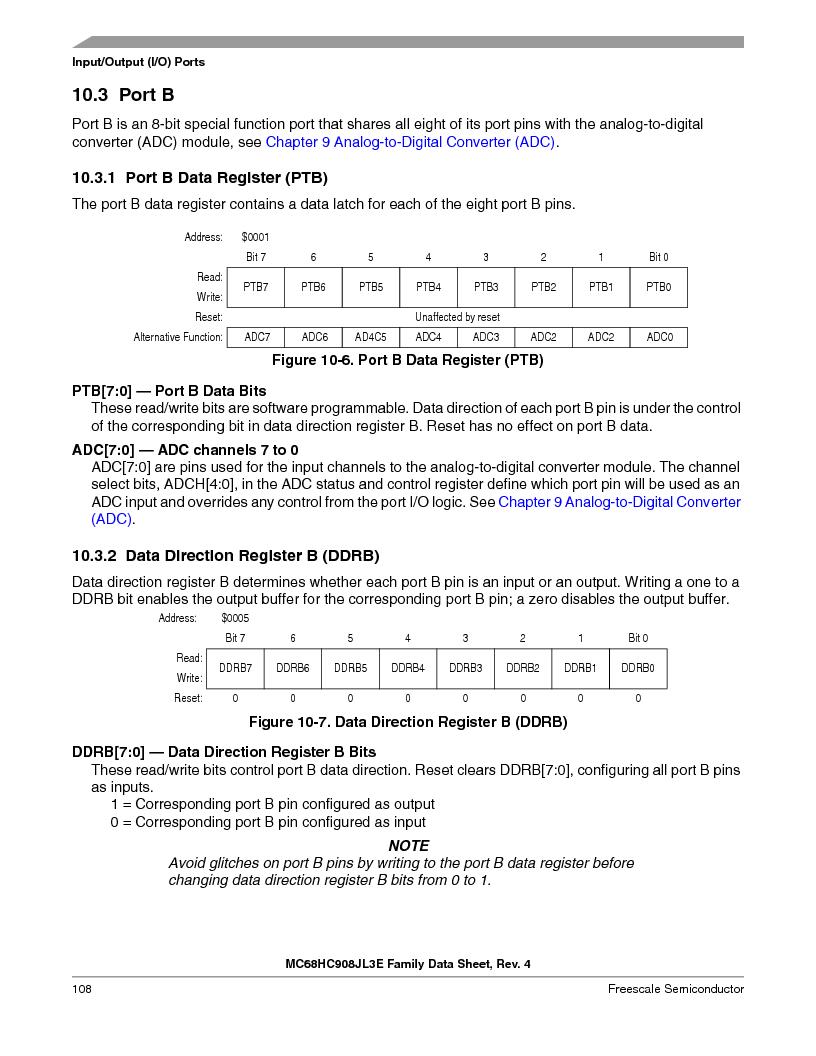 MC908JL3ECPE ,Freescale Semiconductor厂商,IC MCU 4K FLASH 8MHZ 28-DIP, MC908JL3ECPE datasheet预览  第108页