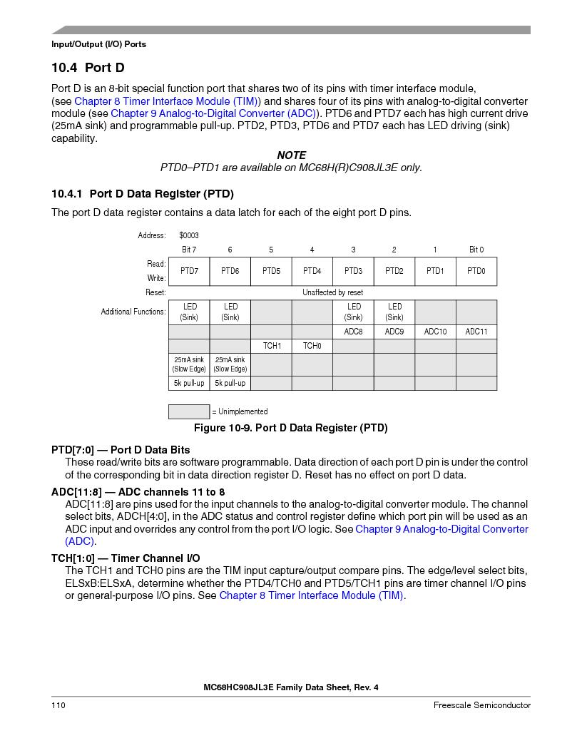 MC908JL3ECPE ,Freescale Semiconductor厂商,IC MCU 4K FLASH 8MHZ 28-DIP, MC908JL3ECPE datasheet预览  第110页