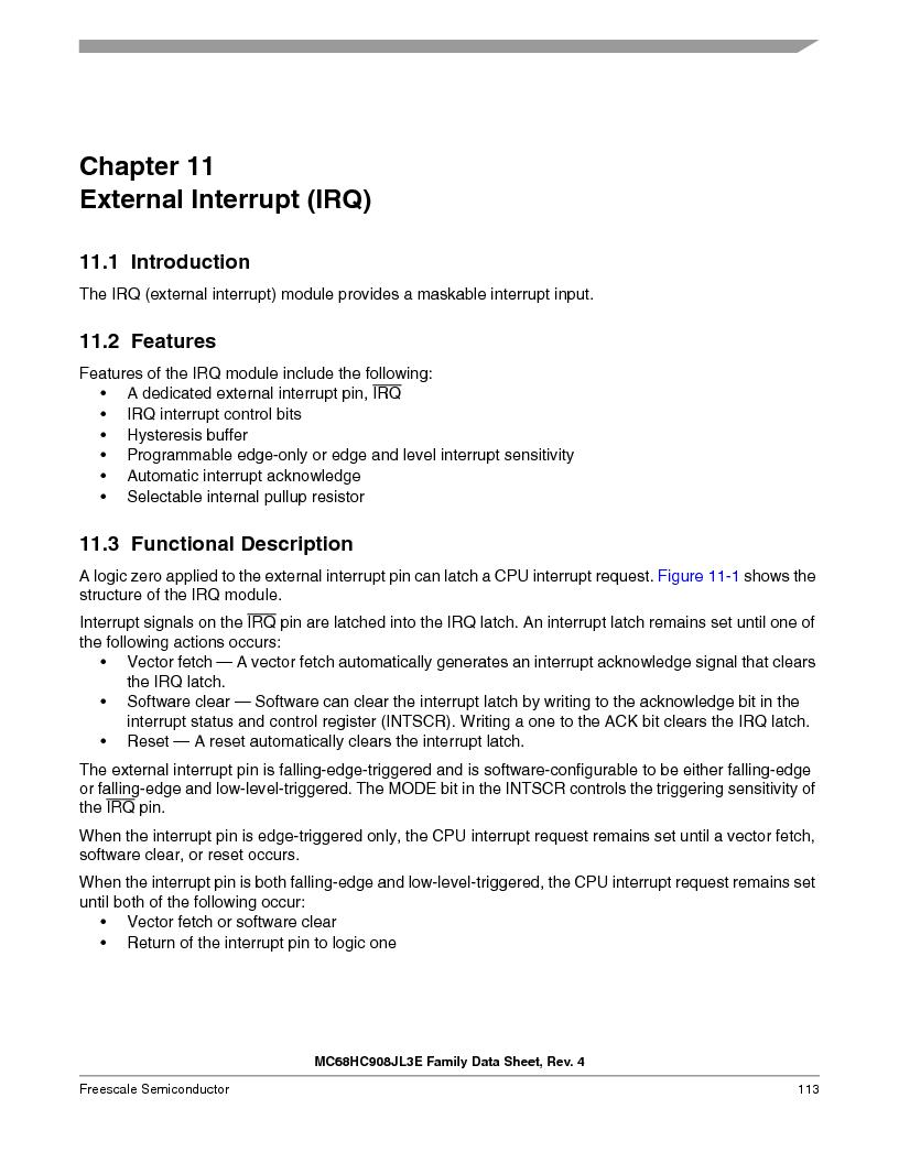 MC908JL3ECPE ,Freescale Semiconductor厂商,IC MCU 4K FLASH 8MHZ 28-DIP, MC908JL3ECPE datasheet预览  第113页