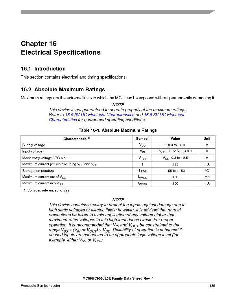 MC908JL3ECPE ,Freescale Semiconductor厂商,IC MCU 4K FLASH 8MHZ 28-DIP, MC908JL3ECPE datasheet预览  第135页