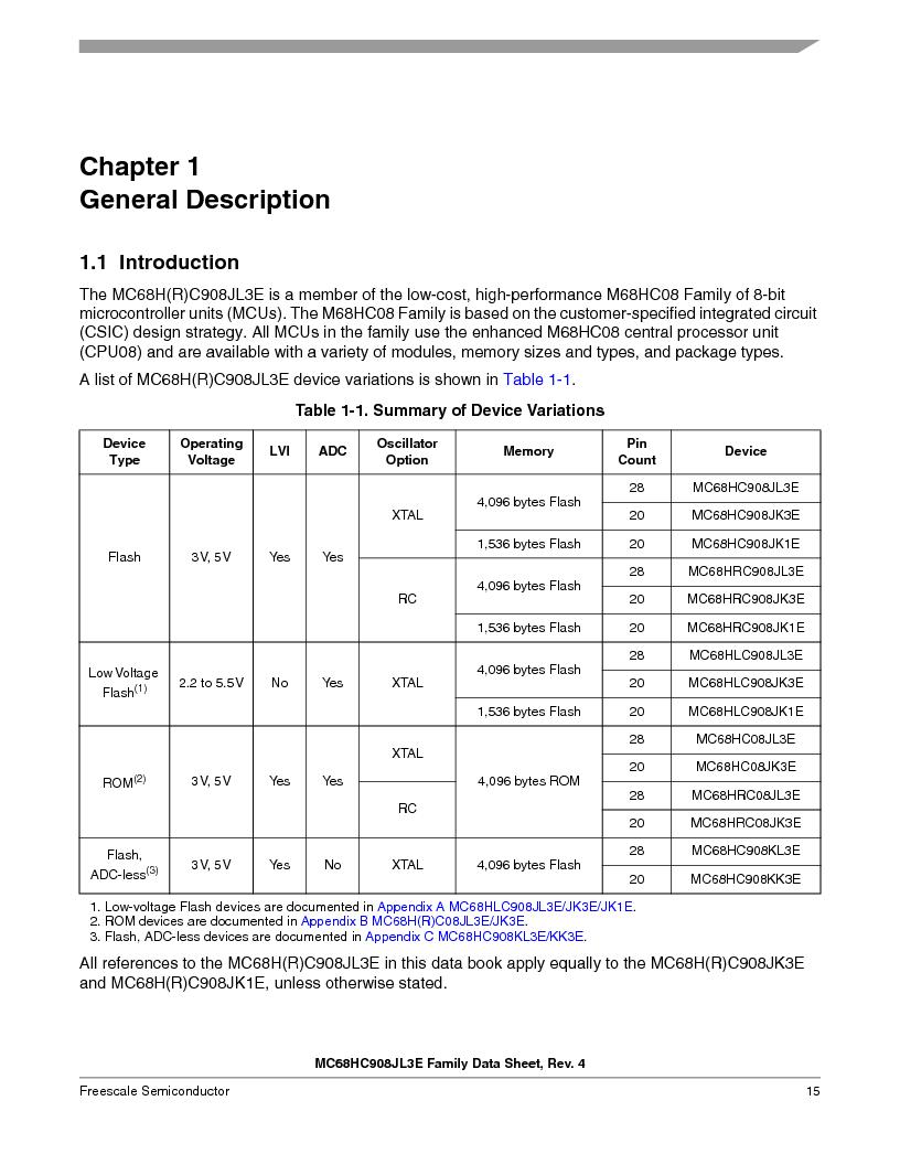 MC908JL3ECPE ,Freescale Semiconductor厂商,IC MCU 4K FLASH 8MHZ 28-DIP, MC908JL3ECPE datasheet预览  第15页