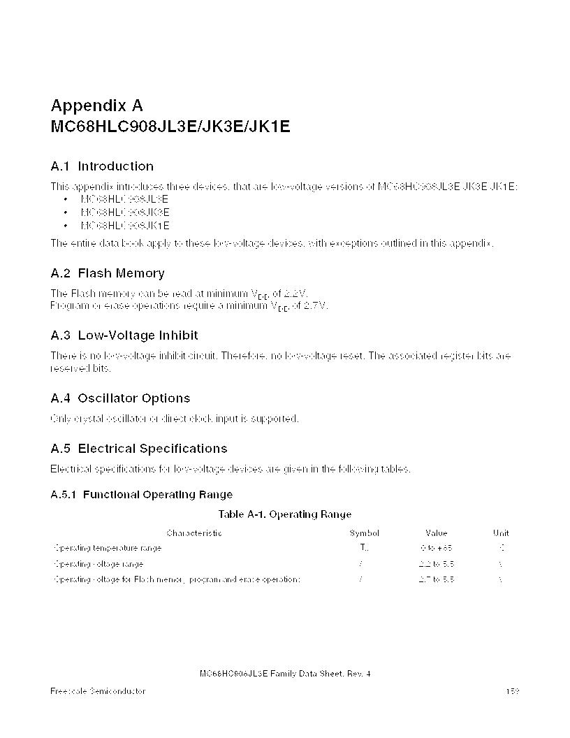 MC908JL3ECPE ,Freescale Semiconductor厂商,IC MCU 4K FLASH 8MHZ 28-DIP, MC908JL3ECPE datasheet预览  第159页
