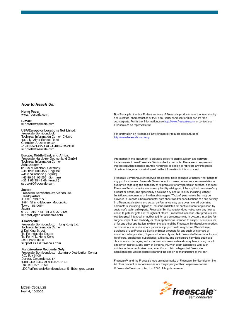 MC908JL3ECPE ,Freescale Semiconductor厂商,IC MCU 4K FLASH 8MHZ 28-DIP, MC908JL3ECPE datasheet预览  第180页
