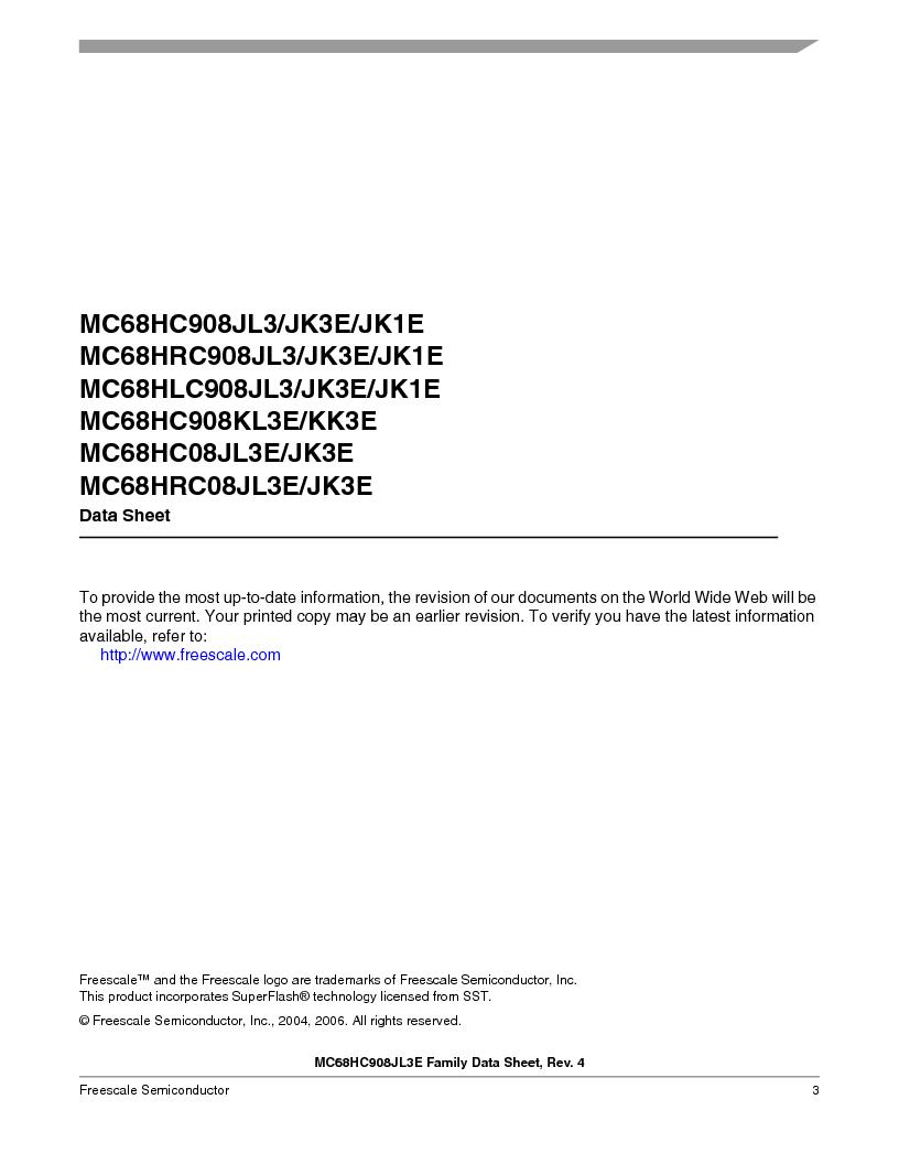 MC908JL3ECPE ,Freescale Semiconductor厂商,IC MCU 4K FLASH 8MHZ 28-DIP, MC908JL3ECPE datasheet预览  第3页