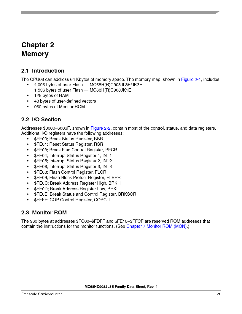 MC908JL3ECPE ,Freescale Semiconductor厂商,IC MCU 4K FLASH 8MHZ 28-DIP, MC908JL3ECPE datasheet预览  第21页