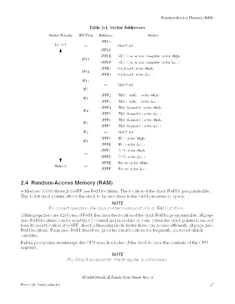 MC908JL3ECPE ,Freescale Semiconductor厂商,IC MCU 4K FLASH 8MHZ 28-DIP, MC908JL3ECPE datasheet预览  第27页