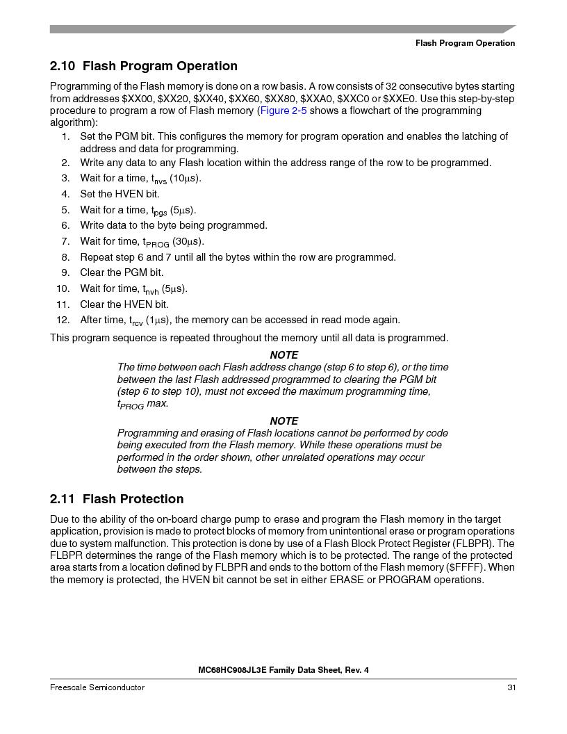 MC908JL3ECPE ,Freescale Semiconductor厂商,IC MCU 4K FLASH 8MHZ 28-DIP, MC908JL3ECPE datasheet预览  第31页