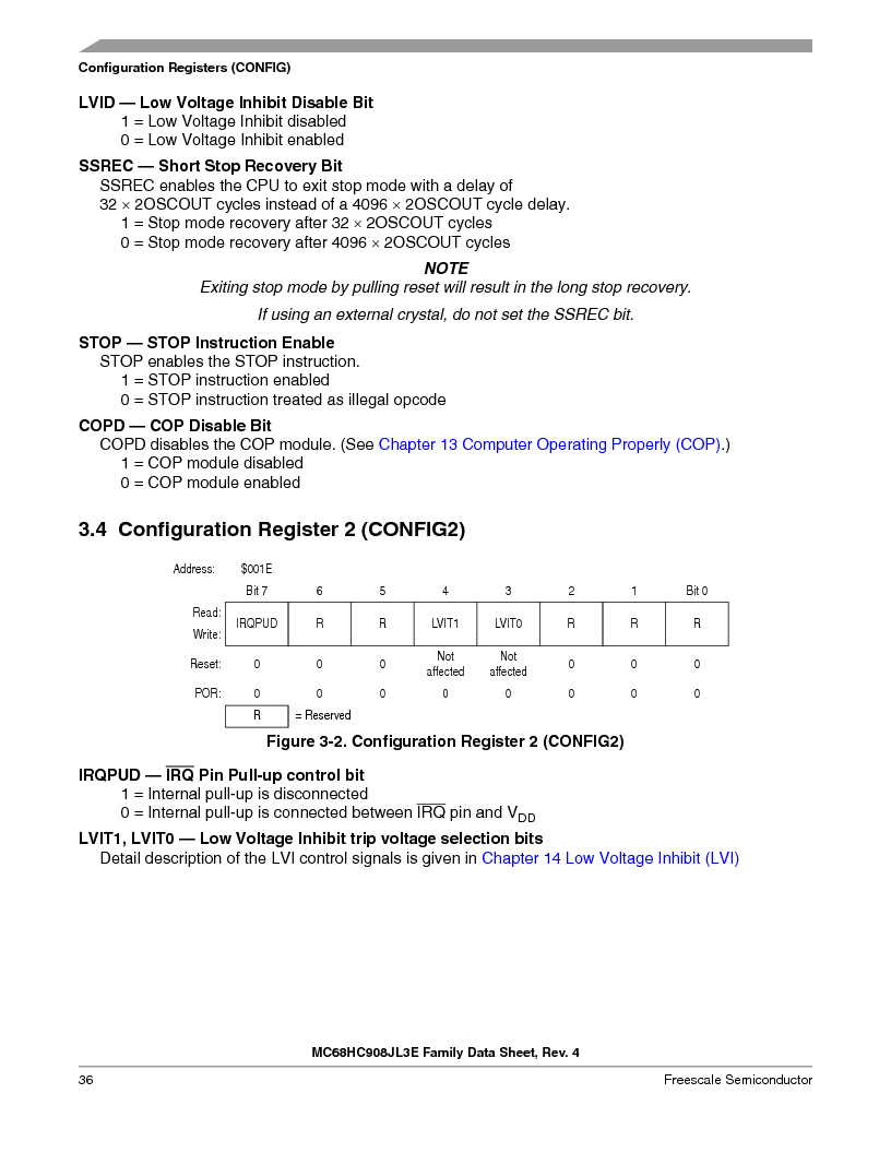MC908JL3ECPE ,Freescale Semiconductor厂商,IC MCU 4K FLASH 8MHZ 28-DIP, MC908JL3ECPE datasheet预览  第36页