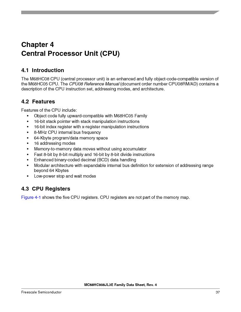 MC908JL3ECPE ,Freescale Semiconductor厂商,IC MCU 4K FLASH 8MHZ 28-DIP, MC908JL3ECPE datasheet预览  第37页