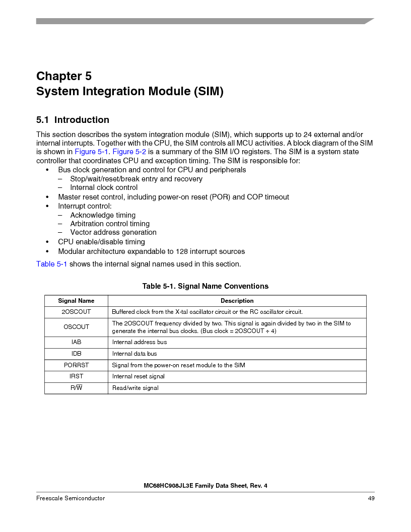 MC908JL3ECPE ,Freescale Semiconductor厂商,IC MCU 4K FLASH 8MHZ 28-DIP, MC908JL3ECPE datasheet预览  第49页