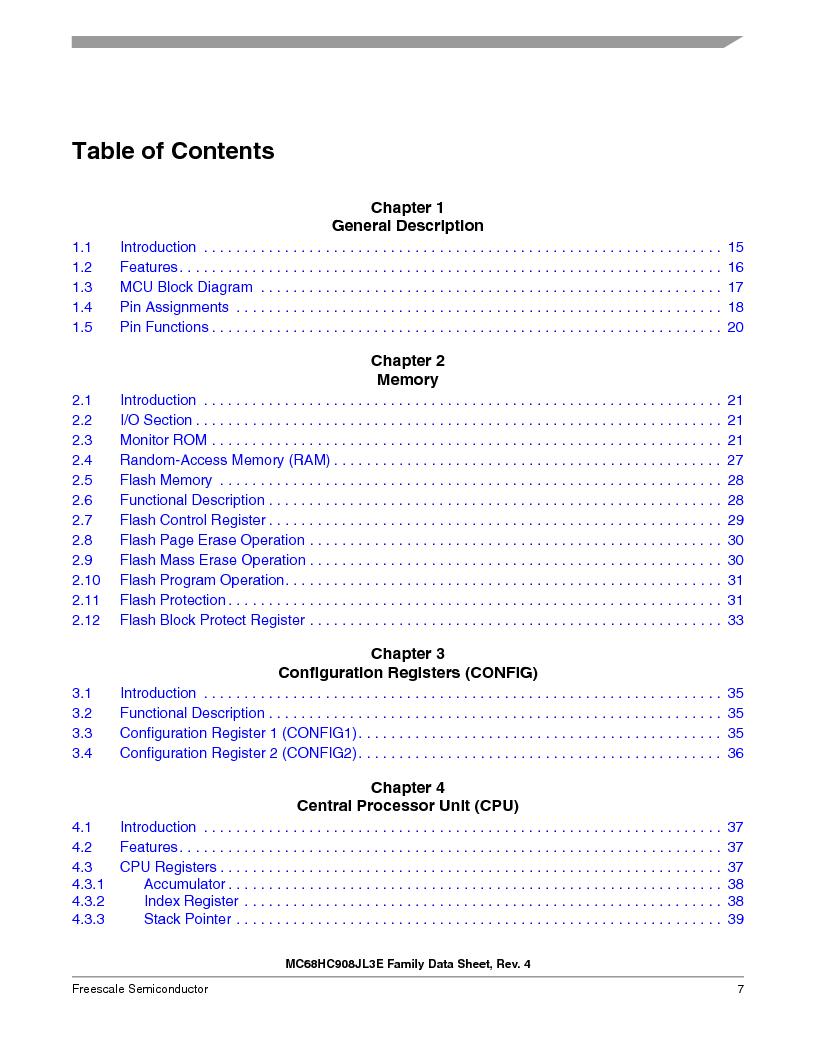 MC908JL3ECPE ,Freescale Semiconductor厂商,IC MCU 4K FLASH 8MHZ 28-DIP, MC908JL3ECPE datasheet预览  第7页