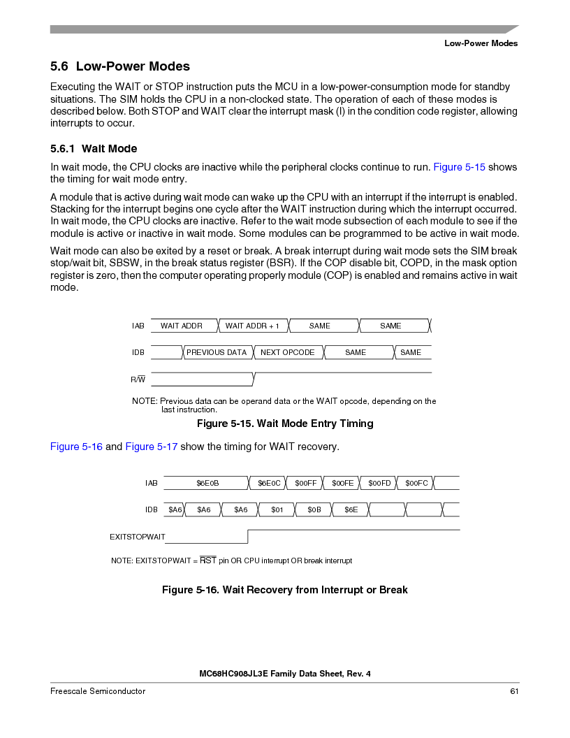 MC908JL3ECPE ,Freescale Semiconductor厂商,IC MCU 4K FLASH 8MHZ 28-DIP, MC908JL3ECPE datasheet预览  第61页