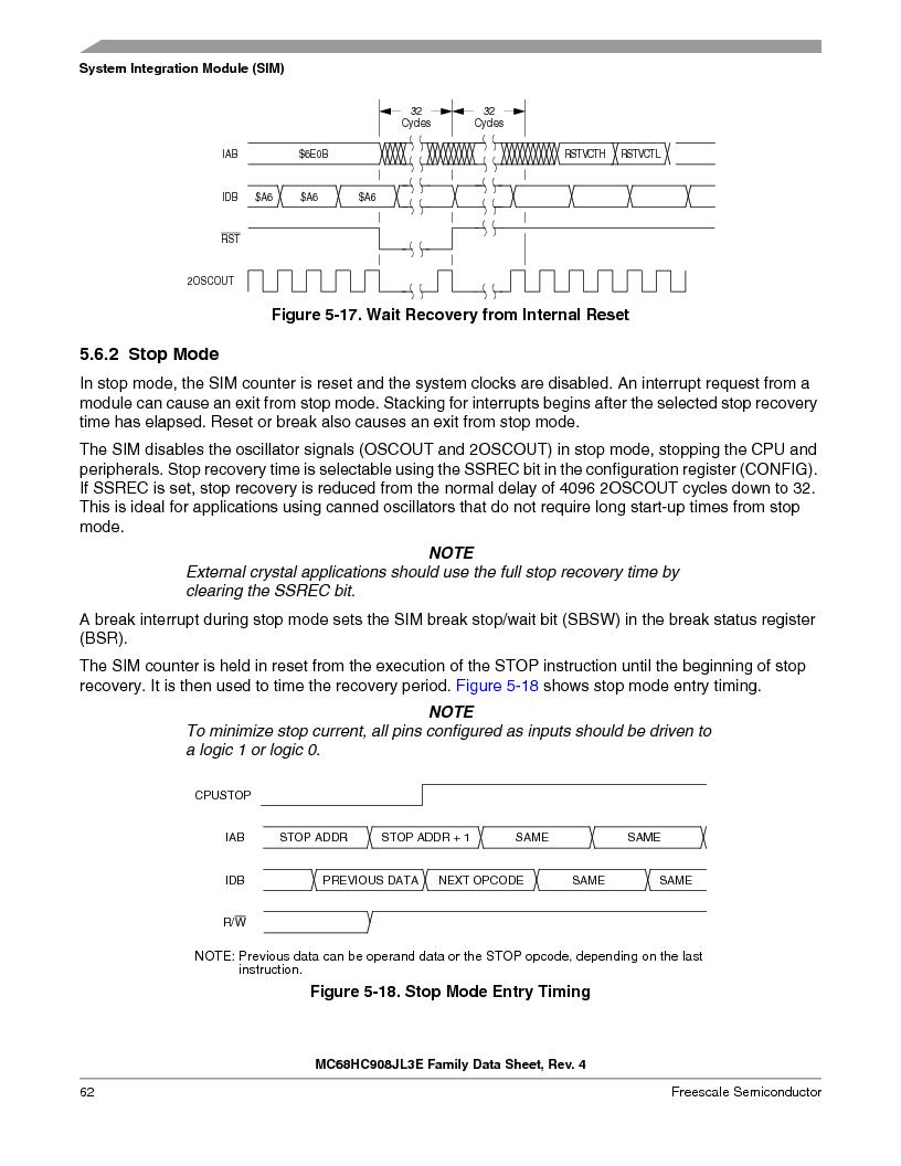MC908JL3ECPE ,Freescale Semiconductor厂商,IC MCU 4K FLASH 8MHZ 28-DIP, MC908JL3ECPE datasheet预览  第62页