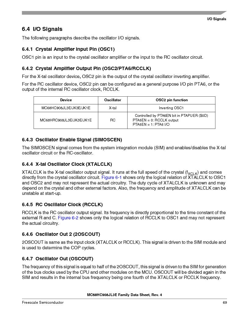 MC908JL3ECPE ,Freescale Semiconductor厂商,IC MCU 4K FLASH 8MHZ 28-DIP, MC908JL3ECPE datasheet预览  第69页
