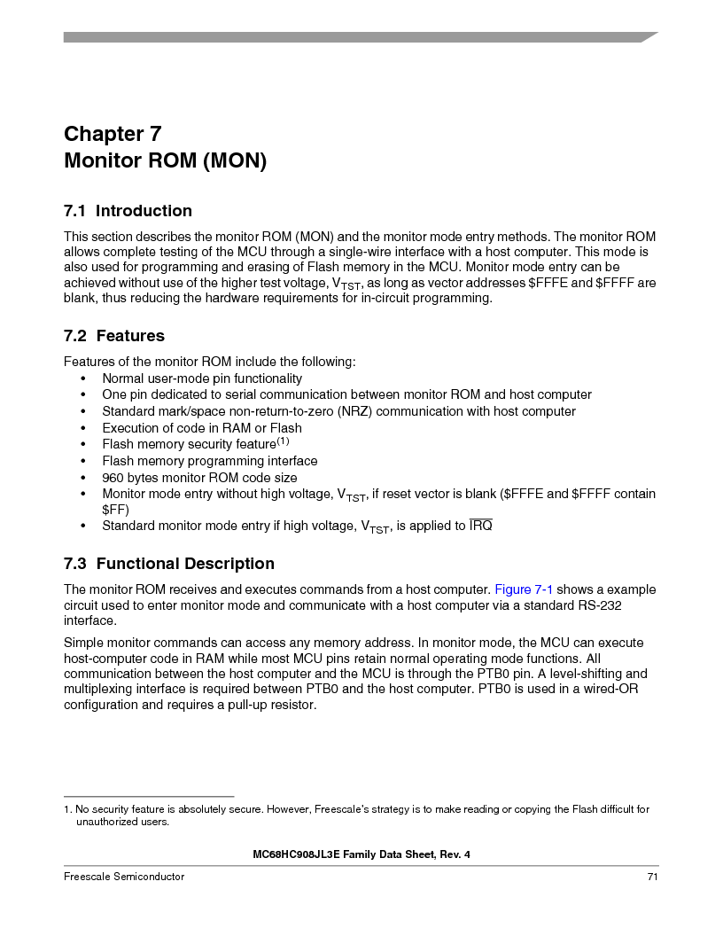 MC908JL3ECPE ,Freescale Semiconductor厂商,IC MCU 4K FLASH 8MHZ 28-DIP, MC908JL3ECPE datasheet预览  第71页