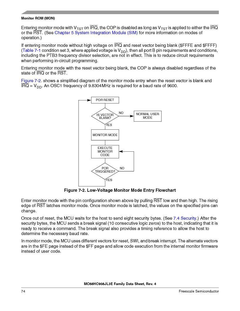 MC908JL3ECPE ,Freescale Semiconductor厂商,IC MCU 4K FLASH 8MHZ 28-DIP, MC908JL3ECPE datasheet预览  第74页