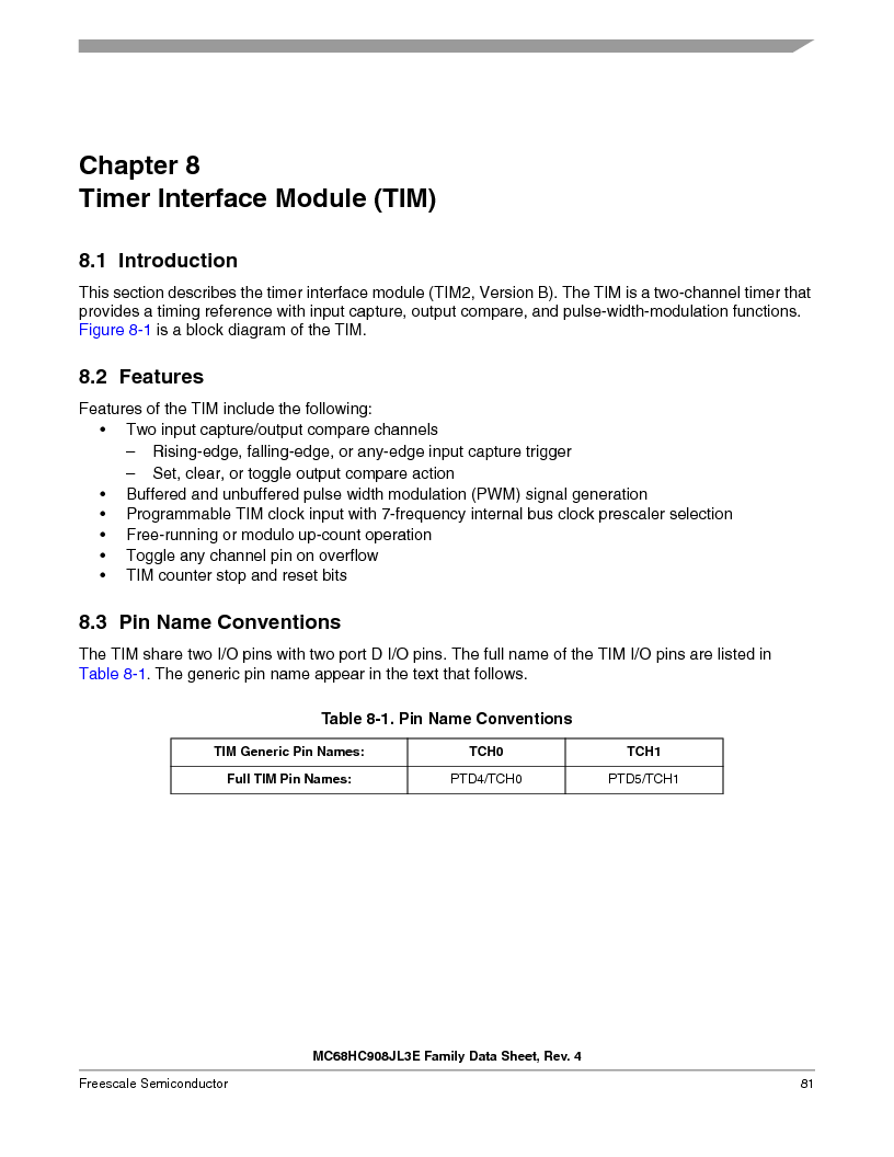 MC908JL3ECPE ,Freescale Semiconductor厂商,IC MCU 4K FLASH 8MHZ 28-DIP, MC908JL3ECPE datasheet预览  第81页
