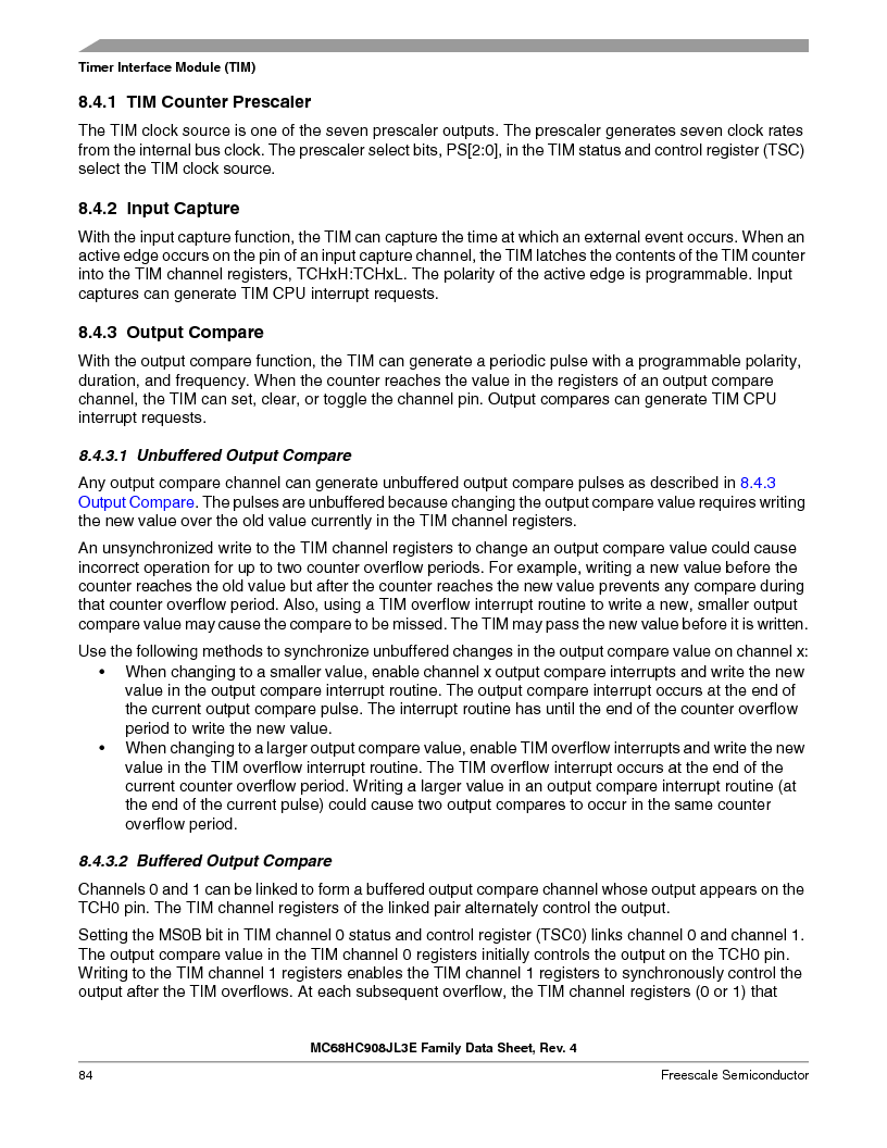 MC908JL3ECPE ,Freescale Semiconductor厂商,IC MCU 4K FLASH 8MHZ 28-DIP, MC908JL3ECPE datasheet预览  第84页