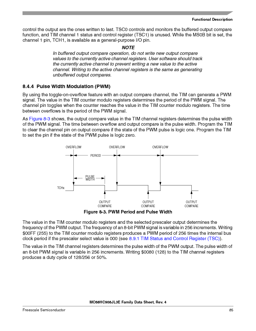 MC908JL3ECPE ,Freescale Semiconductor厂商,IC MCU 4K FLASH 8MHZ 28-DIP, MC908JL3ECPE datasheet预览  第85页