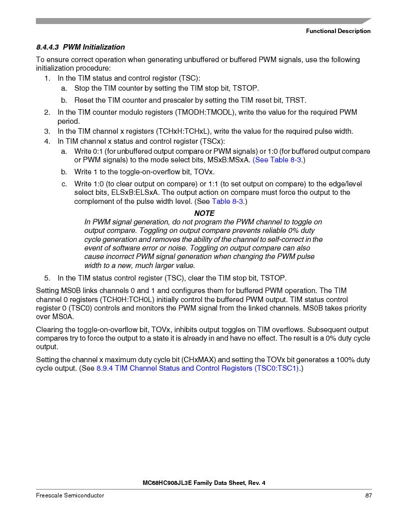 MC908JL3ECPE ,Freescale Semiconductor厂商,IC MCU 4K FLASH 8MHZ 28-DIP, MC908JL3ECPE datasheet预览  第87页