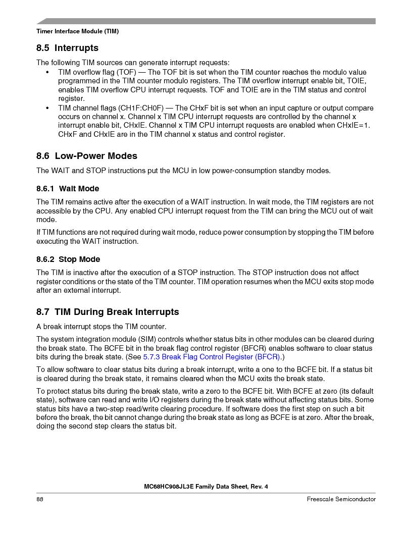 MC908JL3ECPE ,Freescale Semiconductor厂商,IC MCU 4K FLASH 8MHZ 28-DIP, MC908JL3ECPE datasheet预览  第88页