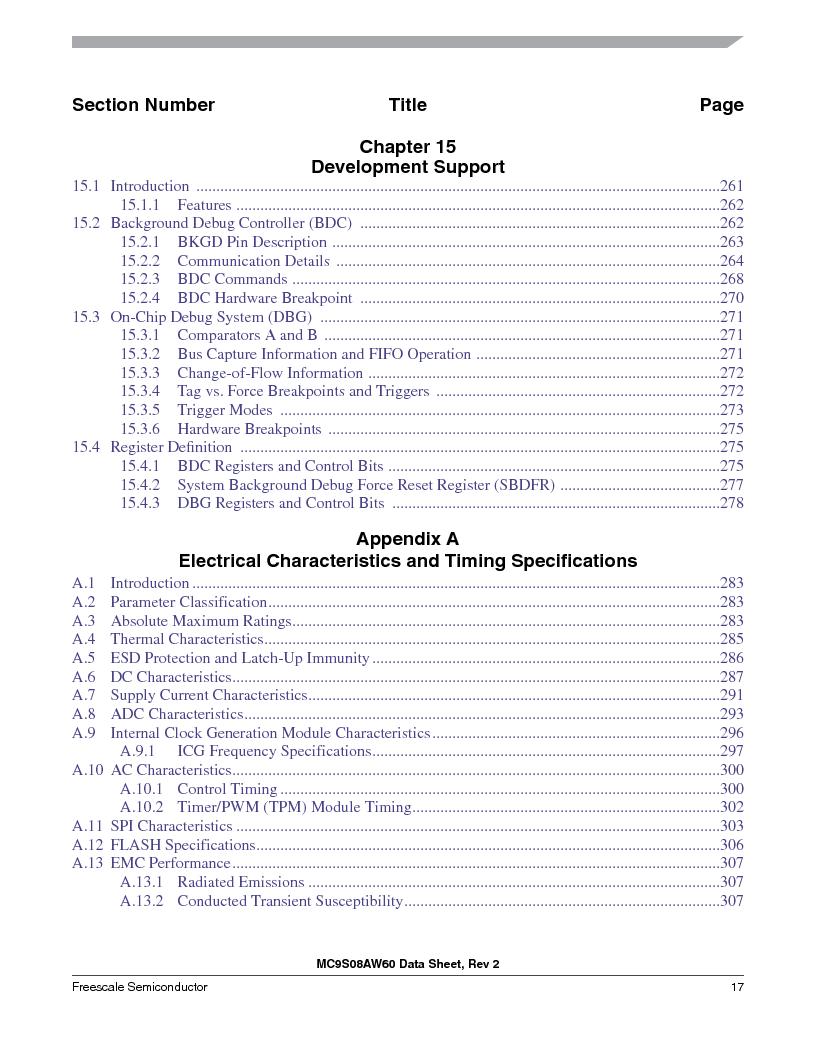 MC9S08AW60CFGER ,Freescale Semiconductor厂商,IC MCU 60K FLASH 4K RAM 44-LQFP, MC9S08AW60CFGER datasheet预览  第17页