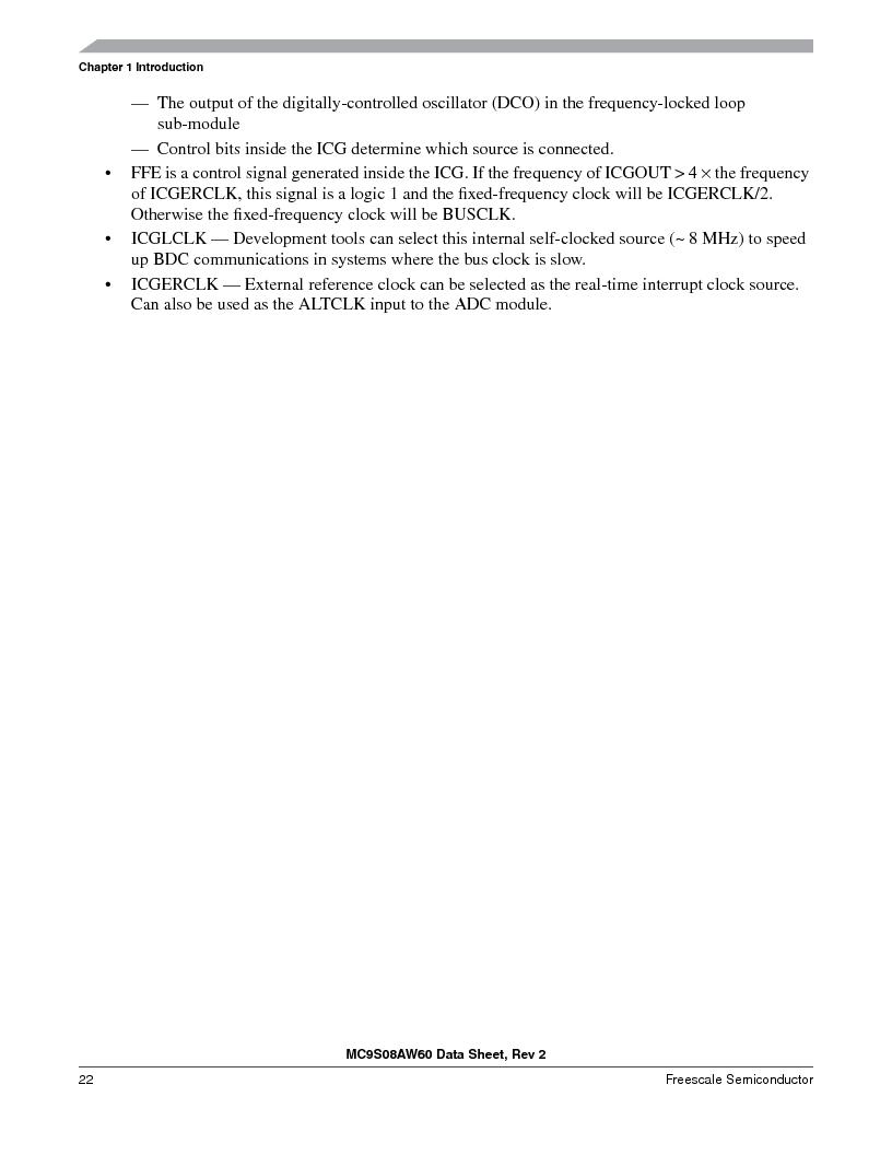 MC9S08AW60CFGER ,Freescale Semiconductor厂商,IC MCU 60K FLASH 4K RAM 44-LQFP, MC9S08AW60CFGER datasheet预览  第22页